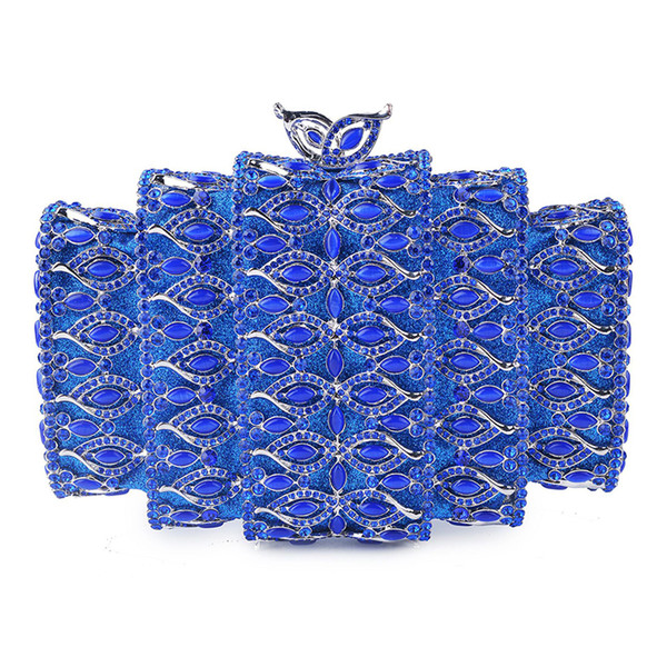 Blue Rhinestone Crystal Clutch Purse Silver Metal Evening Bags Clutches Hollow Out Women Party Clutch Lady Chain Shoulder Purse