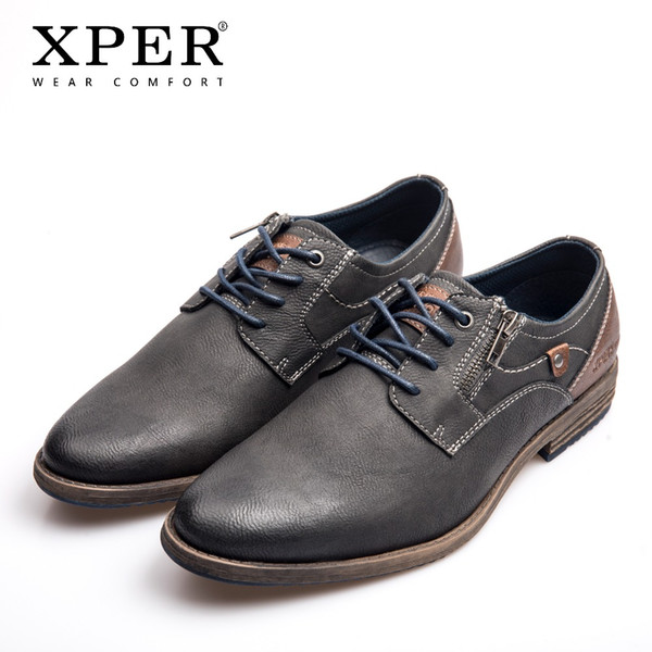 XPER Brand New Men Dress Shoes Plus Size 40-48 Leisure Business Leather Shoes Male Comfort Lace-Up Footwear Gray Hot #XHY11605GR