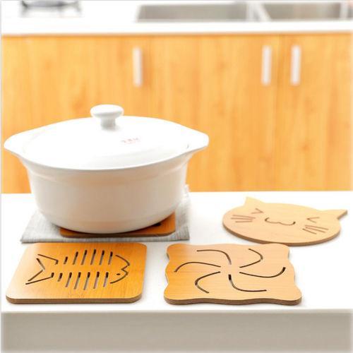 Hohl Holz Cartoon Platzdeckchen Wärmeisolierung-Schalen-Matte Anti-Rutsch-Dinner Bowl Pad