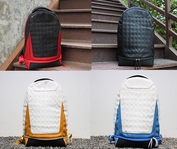 top popular HOT Backpack leather Jumpman 13 Designer bag backpack Mens Womens Teenager Black red yellow White Blue Outdoor Basketball Backpack 6 Colour 2019