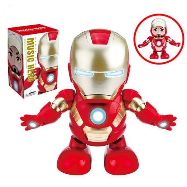Danse Iron Man Musique héros Marvel Avengers Figurine Jouet Led Lampe de poche avec lumière Son Musique Robot Iron Man Hero Jouet électronique