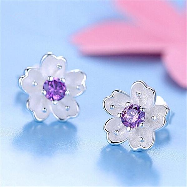 Cute Romantic Flower Stud Earrings for Women Earring Charms Luxuy Cubic Zirconia Diamond Earrings Pierced Ears Stud