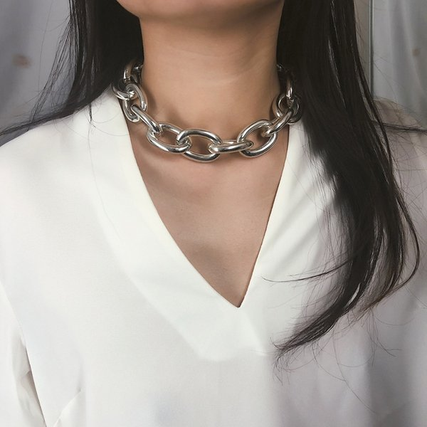 Gothic short section thick chain necklace punk rock statement necklace female gothic jewelry retro collier femme fashion jewelry