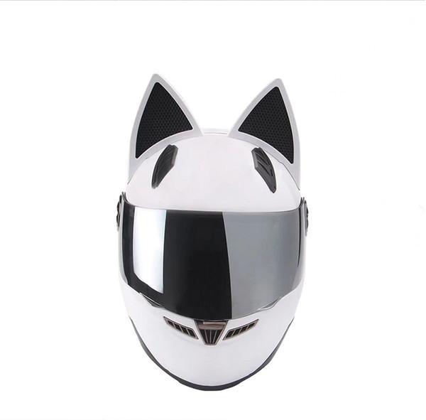 NITRINOS мотоциклетный шлем анфас с кошачьими ушами черный белый розовый желтый многоцветный мода
