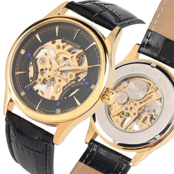 Erkekler İzle Mekanik İzle El Rüzgar İskelet İzle Üst Marka Lüks Deri Kordonlu Saat Kol Eğlence Saat Erkekler Reloj Hombre J190614