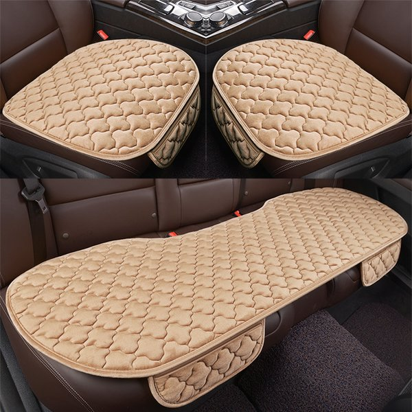 Warm Velvet Car Seat Cover Universal Front Back Rear Cushion Chair Pad Car Supplies 5 Seats Non-Slip Plush Seat Protector