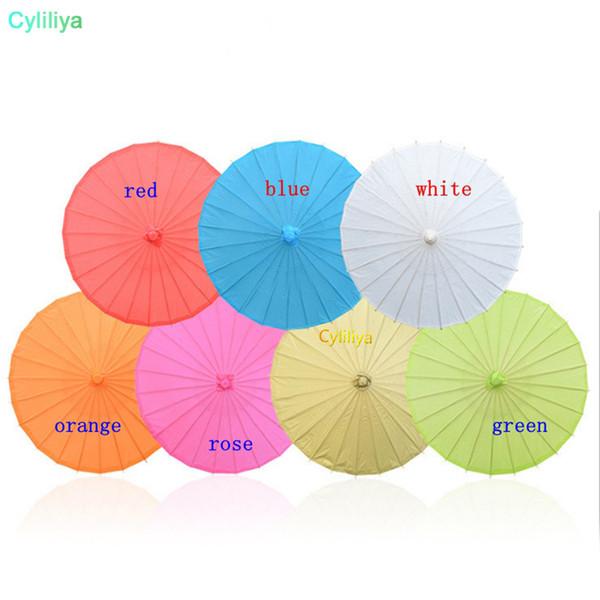 Tamaño de los niños Pequeño Arte Chino Arte Paraguas Colorido Papel en blanco Mango largo Boda Sombrilla