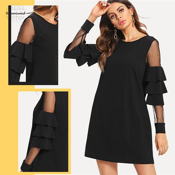Robe à volants manches longues Une ligne de travail robes noires femme contraste couche maillée femmes droites élégantes Mini Clothes Designer