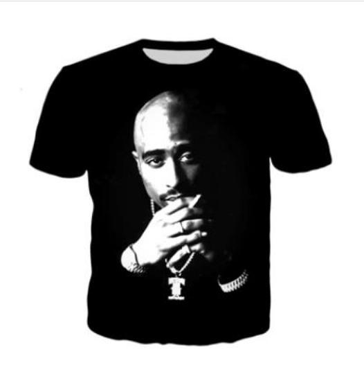 Más reciente Novedad Streetwear Hombres Mujer Tupac 2pac Estilo de Verano Divertido Impresión 3D Casual O-cuello de la Camiseta Tops Más Tamaño WW0200
