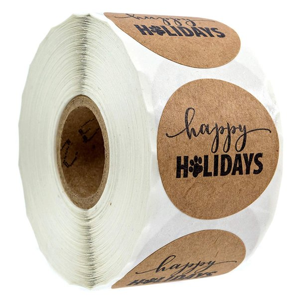 1 inch Happy Holidays Sticker With Print / 500 Dog Print Christmas Stickers Per Roll