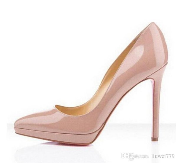 Classic Hot Sales Nude Patent Leather High Heels Women Pumps,Luxury Brand Red Bottom Pointy Toes Dress Wedding Shoes with Platform High-heel