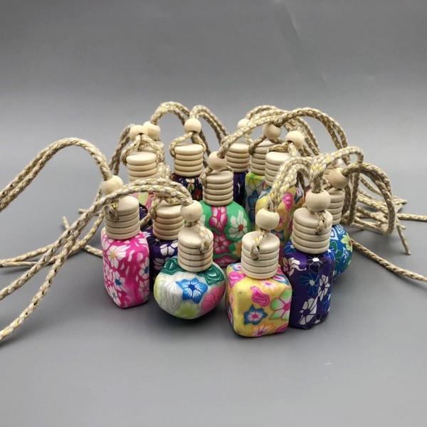 10 ml-15 ml Bouteille d'huiles essentielles en céramique en pâte polymère décoration de voiture suspendue voiture suspendue corde de bouteille vide bouteille de parfum en bois couvercle cadeau