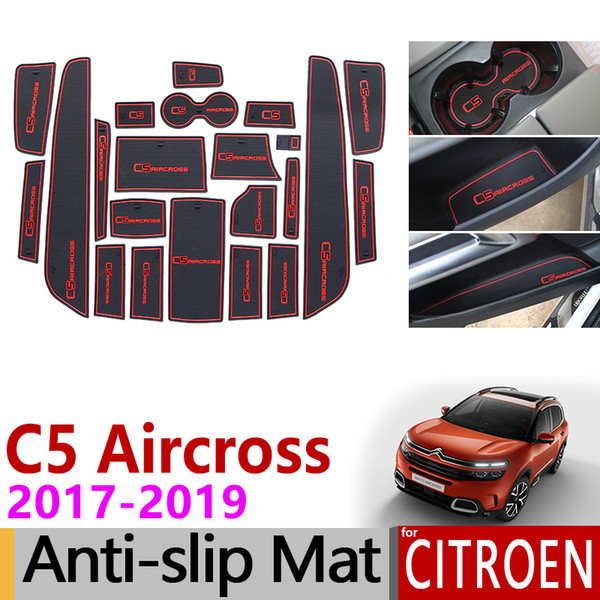 Anti-Slip Gate Slot Mat Rubber Cup Coaster for Citroen C5 Aircross 2017 2018 2019 C5-Aircross Accessories Stickers
