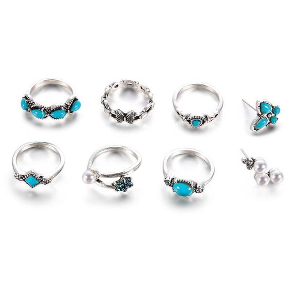Cristal de pierre de bohème bleu perle simulée perle fleur papillon bague midi doigt ensemble Vintage rétro antique jarret en argent