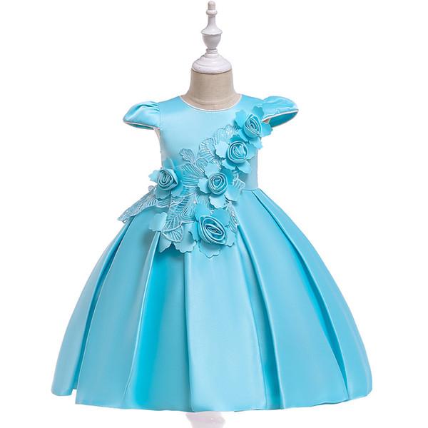 Nouvelle robe jacquard à manches courtes filles stéréo robe de princesse fleur satin arc robe de mariée fille fleur