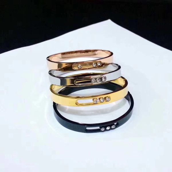 Mode neu kommen dame 316l titanium stahl slide drei diamanten mes brief 18 karat vergoldet schmale armreif armbänder 4 farbe