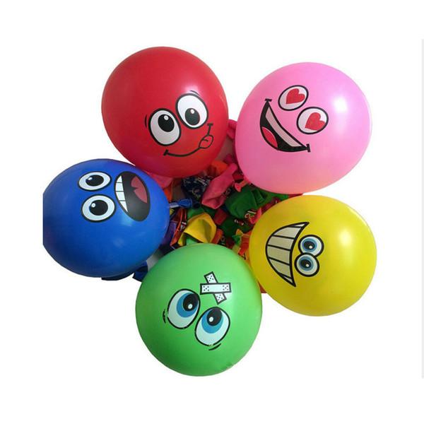 100 Stücke 12 Zoll Großen Augen Lächelndes Gesicht Ballon Dicken Ballon Großen Augen Lächeln Druck BALLON Geburtstag Hochzeit Dekoration