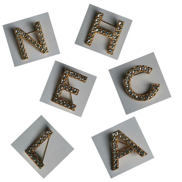 Las mujeres Rhinestone Letra C Conjunto Broche Diy Carta de Lujo Conjunto Broche Traje de Solapa Pin Joyería de Moda Accesorios de la Camisa para la Fiesta de Regalo