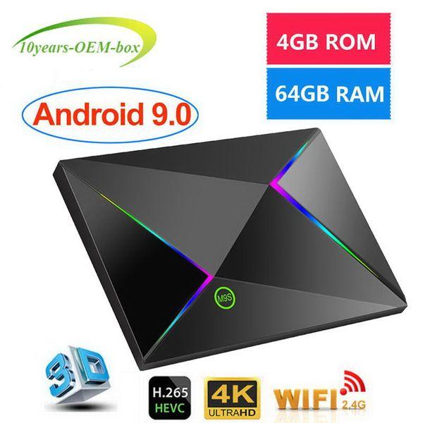Nuovo M9S Z8 H6 Quad core 4 GB RAM 64G Android 9.0 TV Box 2.4G WiFi IPTV Media Player Meglio H96 T95 X96 MAX S905X2 RK3328 S905W RK3318