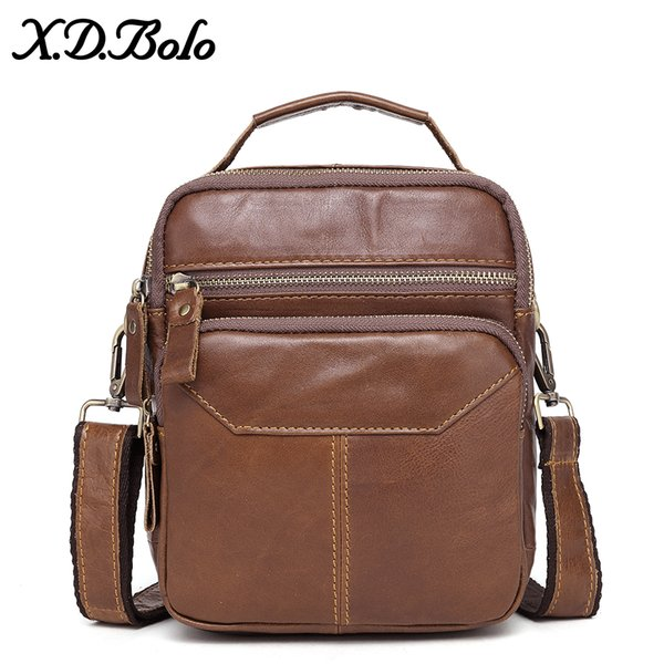 X.D.BOLO Genuine Leather Messenger Bags Men's Shoulder Bag Cowhide Strap Small Male Handbags Casual Crossbody Bags for Men
