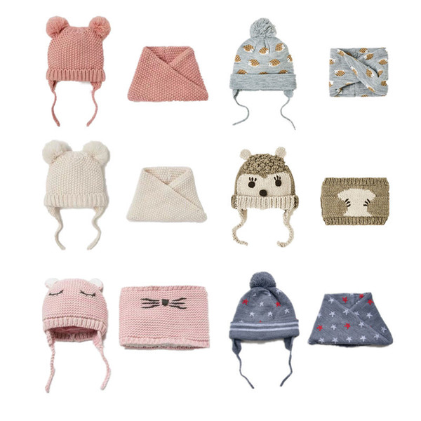 Baby Hats Children's Hat & Scarf 2pcs/lot Baby Girl Hat Autumn Winter Double Layer Knit Warm Boys Girls Hats Kids Winter Hats CJ191213