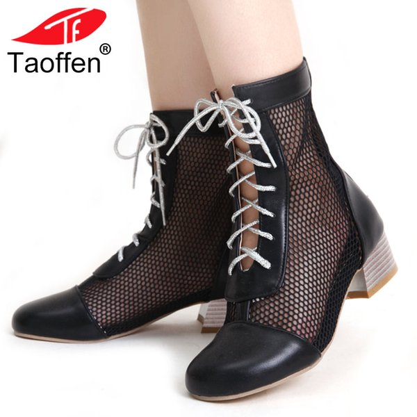 TAOFFEN новые поступления плюс размер 33-45 челнока ботильоны коренастый каблук Обувь женщины полые воздушной сетки женщина офис Леди Летние сапоги