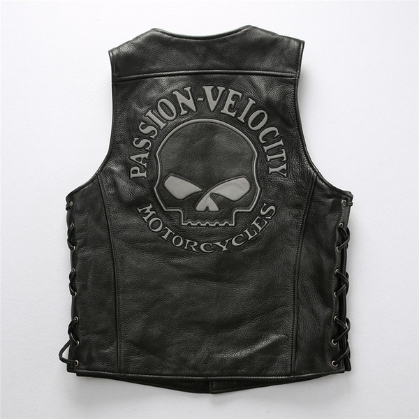 Hot sale Skull head back PASSION VEIOCITY motorcycle leather vest jackets Reflective at night cow leather Riding vest