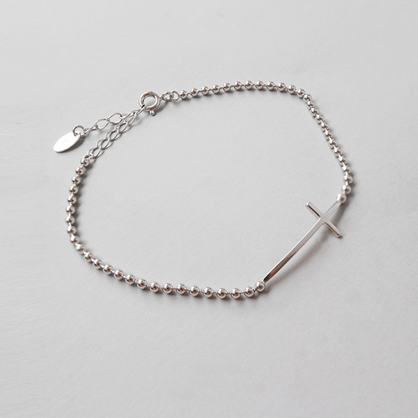 Authentic 925 Sterling Silver Bead Chain Bracelet & Bangles Sideway Cross Charm Bracelet For Women Pulseira Valentine's Day Gifts