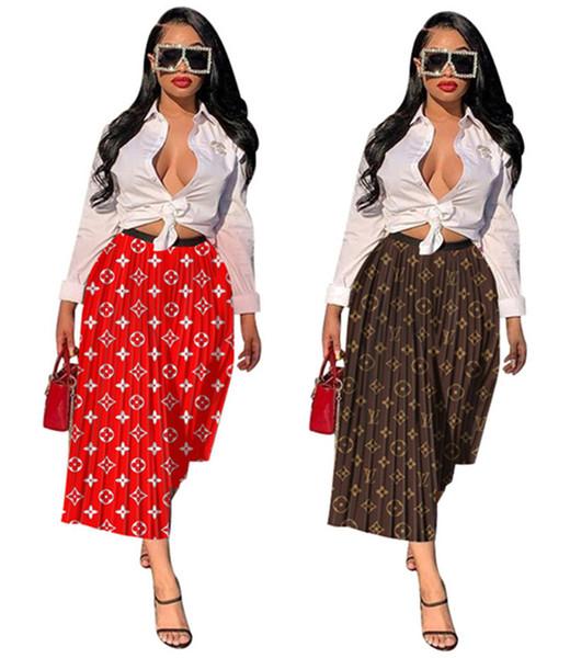 Les femmes marque tomber jupes midi de sexy casual pli imprimer des vêtements de mode automne d'été lâche robes jupes vente (seulement jupes) DHL 1073