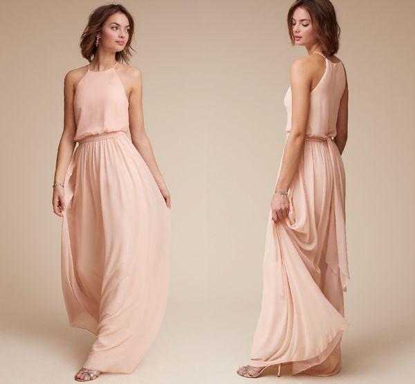 Custom Made Blush Pink Chiffon Long Bridesmaid Dresses Summer Beach Halter Neck Cheap Wedding Guest Evening Party Prom Dresses