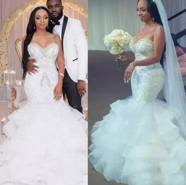Africa Sexy Mermaid Wedding Dress Sweetheart Bling Beaded Crystal Organza Ruffles Layered Floor Length Lace Up Back Bridal Vestido De Noiva