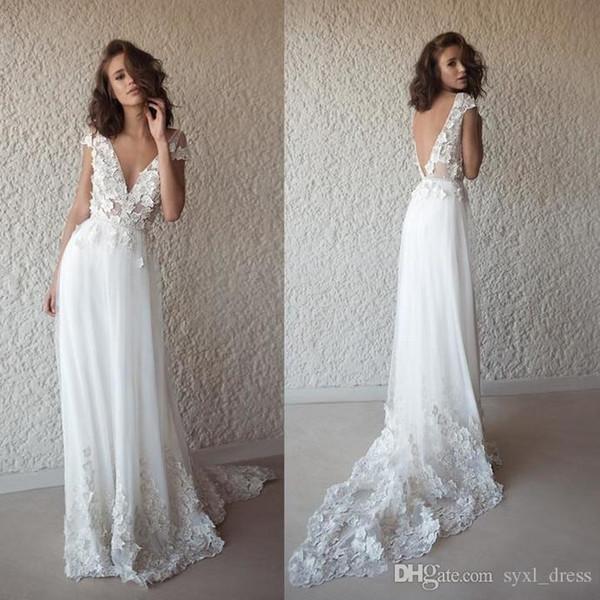 2019 una línea de vestidos de novia de playa profundo cuello en V apliques de encaje sin espalda Bohom boda vestidos de novia batas de soirée