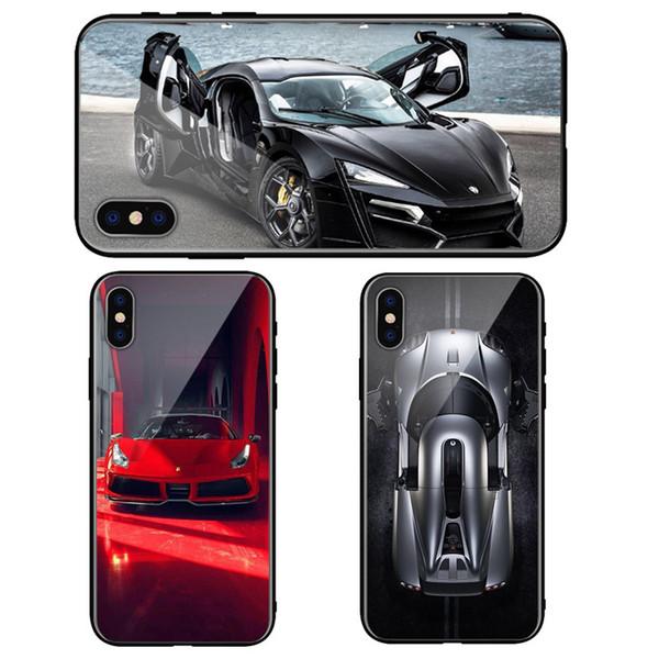 Manufacture Price Super Racing Car phone Case Iphone 6 6s 7 8 7plus 8plus X XS XR XSMax Glass + TPU phone case
