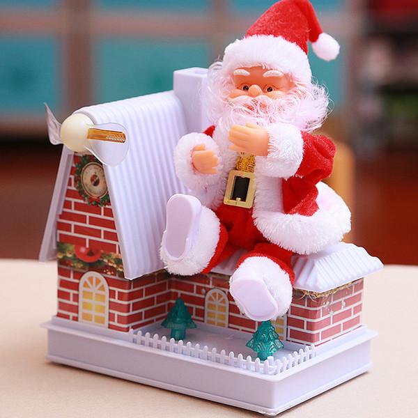 Рождественская игрушка электрический Санта-Клаус милый вращающийся светящийся ветряная мельница DIY дом игрушка Новый год подарок для детей игрушка архитектура подарок украшения