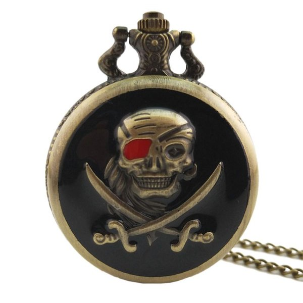 Antique Steampunk Skull Flower Quartz Pocket Watch Men Women Necklace Chain Retro Pendant Clock Jewelry Charm Gifts