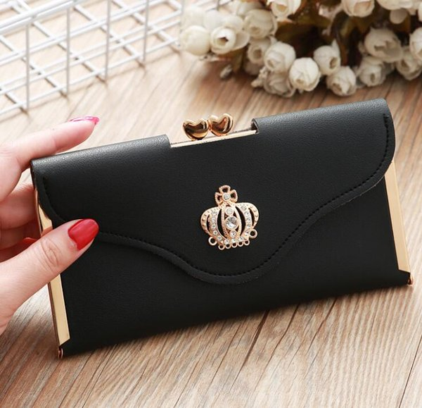 2019 new women's wallet long fashion clutch bag with diamond crown buckle card package wild evening bag