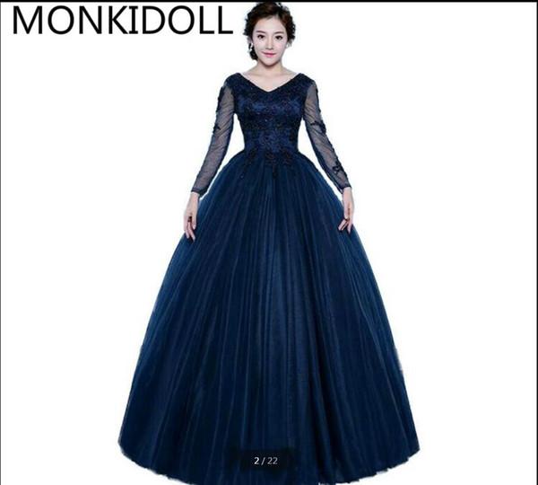 58ac8b157ee Vestido De Novia 2019 ball gown navy blue modest muslim prom dress long  sleeve v neckline