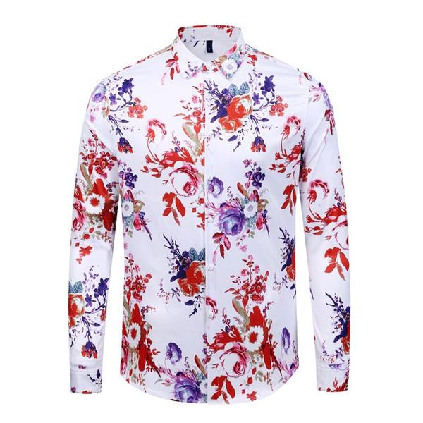 Camicia slim fit caldo Medusa Mens Ss = 2019 3D Golden vestito floreale Mens shirt manica lunga casual Affari Camicia Uomo Abbigliamento