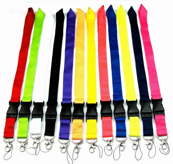 top popular FREE SHIPPING Hot 20pcs Solid color Lanyard for MP3 4 cell phone key chain lanyards wholesale 2021