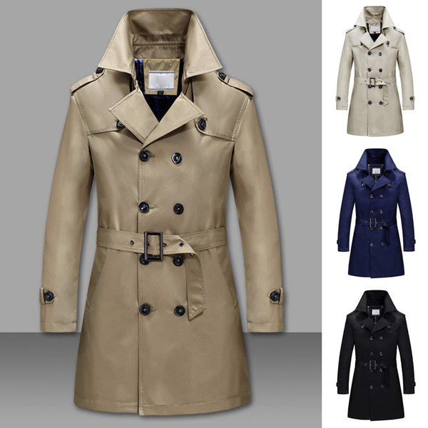 Moda yeni Erkekler Katı Renk Kış Sıcak ceketler Palto İnce Uzun Hendek Düğmeler Erkekler Marka Serin Erkek Uzun