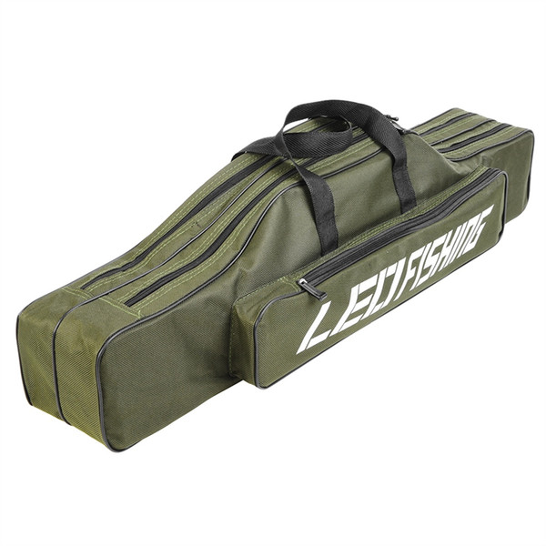 LEO 80cm Double-layer Fishing Rod Bag Portable Fishing Reel Rod Lure Carrier Storage Case Multifunction Canvas Bag For Pesca #234443