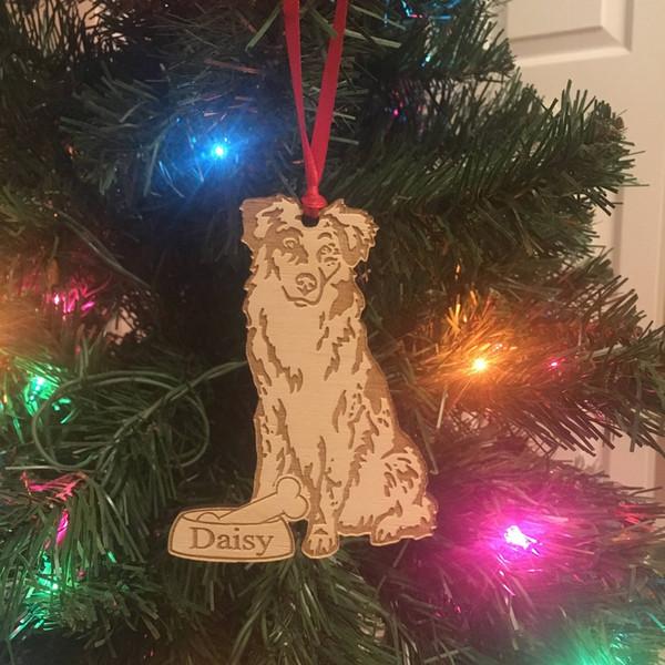 Ornement de Noël de berger australien *** Ornement de chien personnalisé *** Cadeau d'amoureux des chiens *** Ornamament de vacances de Noël pour animaux domestiques
