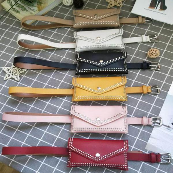 top popular Fashion Women Rivet Belt Bags Solid Color Rivet Shoulder Waist Bags Women PU Leather Fanny Packs Casual Purse Wallet Chest Belt Bag 2020