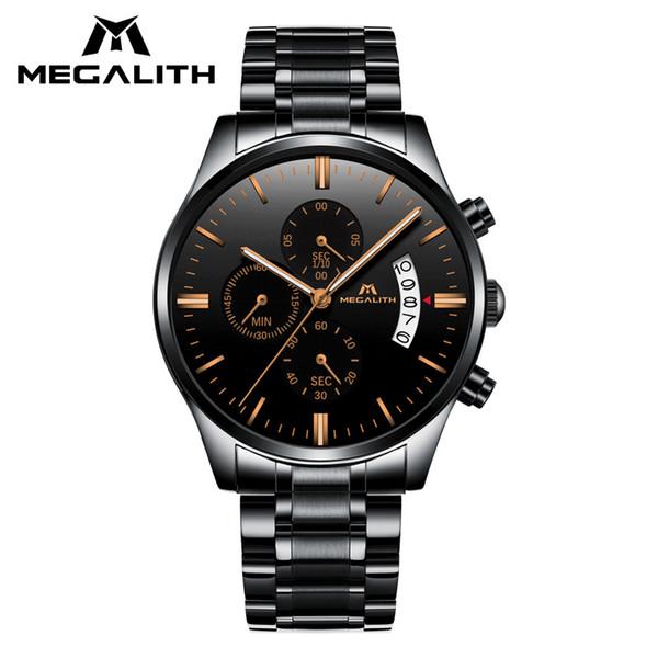 MEGALITH Men's Watch Waterproof Chronogra Date Business Quartz Wrist Watch Classic Black Stainless Steel Strap Male Clock