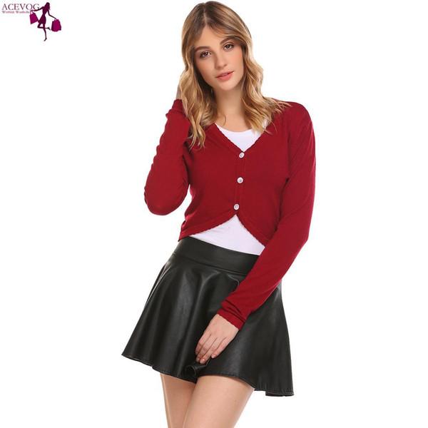 ACEVOG Knit Sleeve Slim Mulheres Longa Bolero Cardigan Cropped Com Decote Em V Botão Para Baixo