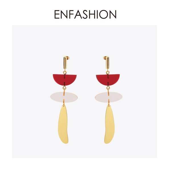 Enfashion Colorful Geometric Resin Dangle Earrings Gold Color Earings Drop Earrings For Women Long Earring Jewelry Brinco Y19050901