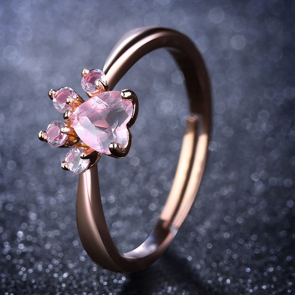 Cute Bear Paw Cat Claw Opening Adjustable Ring Rose Gold Rings for Women Romantic Wedding Pink Crystal CZ Love Gifts Jewelry -P
