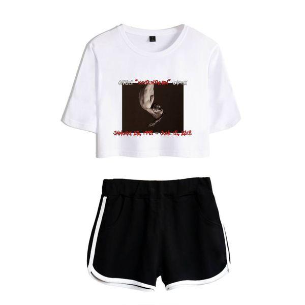 Summer Harajuku Hip Hop Two Piece Set Women Sexy Crop Tops +Shorts Pant Aspects Print Tracksuit Women Conjunto Feminino Female