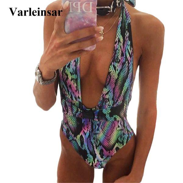 e4f2c6c17ed43e Sexy 2019 Women Swimwear HIgh Waist One Piece Swimsuit Female Bather Halter  Deep V Neck Bathing