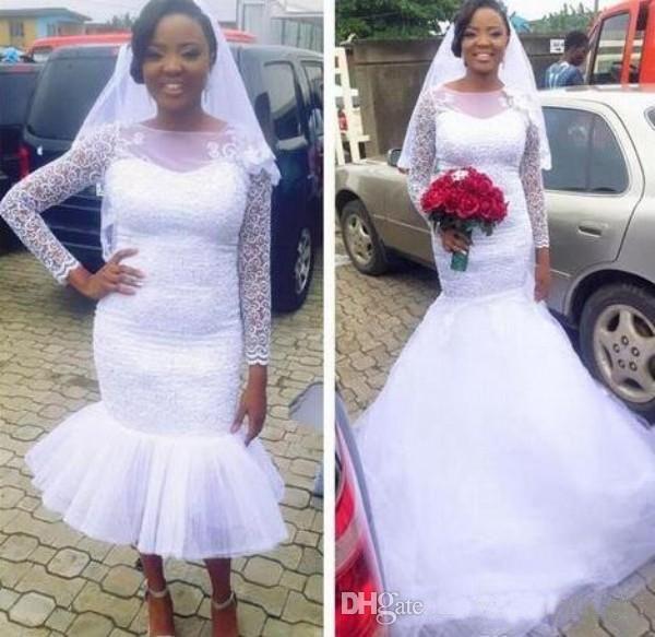 Long Sleeve Wedding Dresses Mermaid White Ivory Lace Bridal Gowns Custom Made Detachable Skirt Wedding Dress